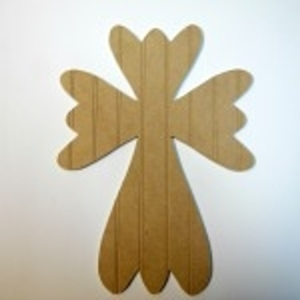 Unfinished Wooden Cross 33 B Beadboard  Paint-able Wall Hanging