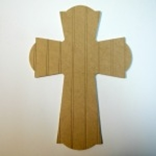 Unfinished Wooden Cross 61 Beadboard Paint-able Wall Hanging