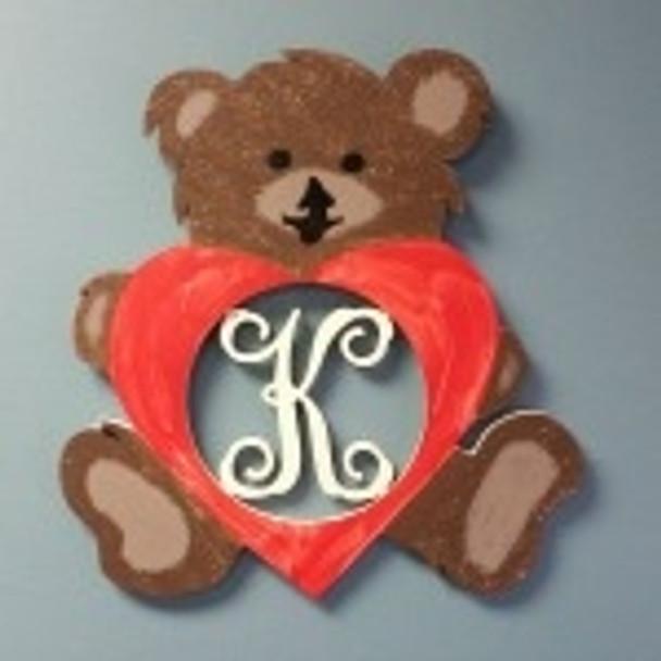 Bear Sitting Love Frame Letter Insert Wooden Monogram Unfinished