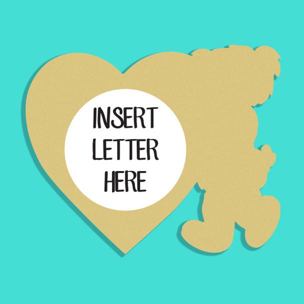 Bear Standing Love Frame Letter Insert Wooden Monogram Unfinished