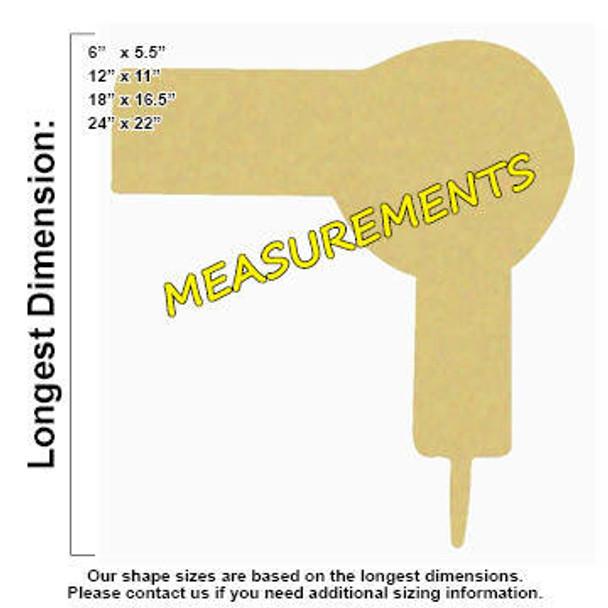 Blow Dryer Unfinished Cutout measurements