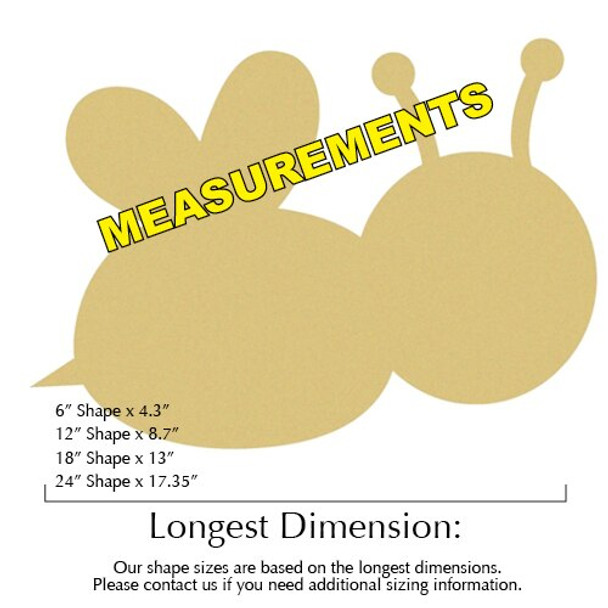 Bumble Bee Unfinished Cutout measurements