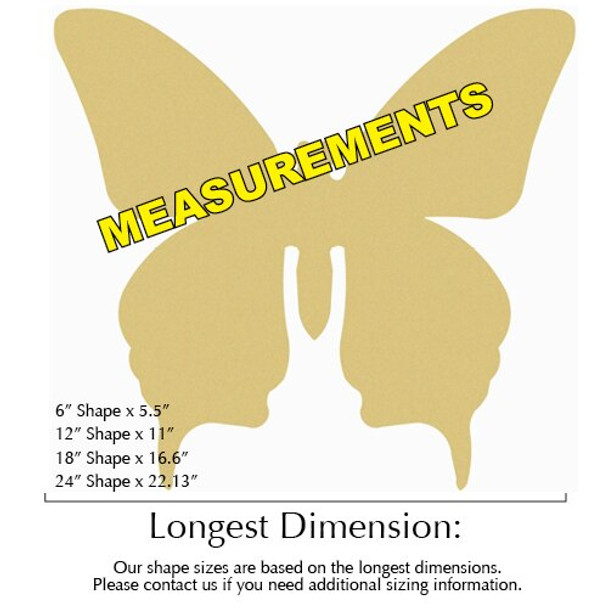 Butterfly Unfinished Cutout Paintable MDF DIY Craft measurements