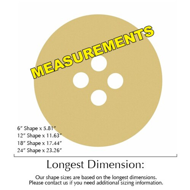 Button Unfinished Cutout Paintable Wooden MDF Craft measurments