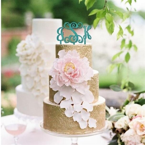 Cake Topper Monogram Unfinished Uppercase