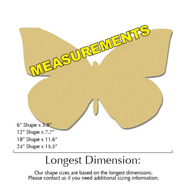 California Dogface Butterfly Unfinished Cutout measurements
