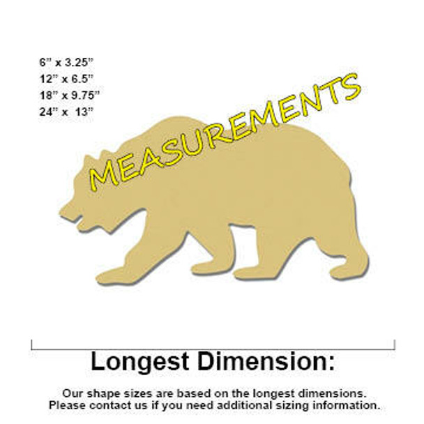 Grizzly Bear Unfinished Cutout measurements