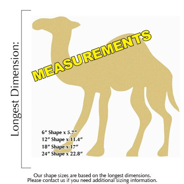 Camel Unfinished Cutout Paintable Wooden MDF Craft measurements