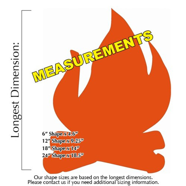 Camp Fire Unfinished Cutout Paintable Wooden MDF measurements