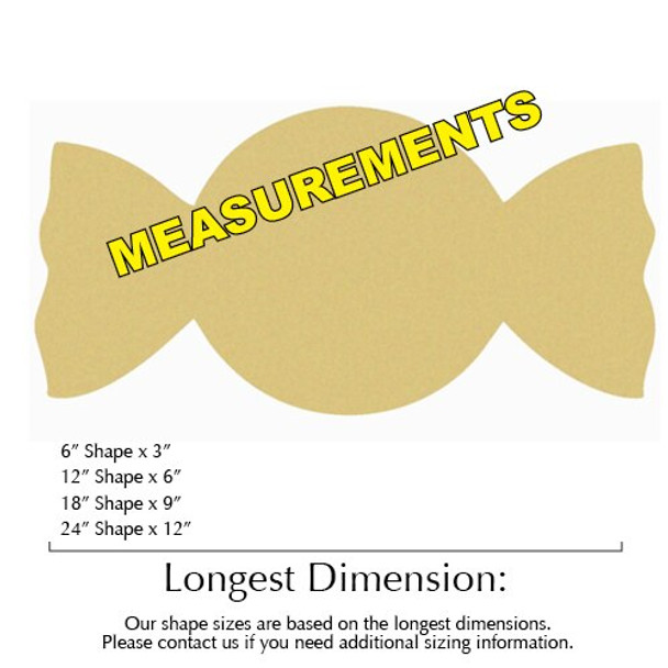 Christmas Candy Unfinished Cutout MEASUREMENTS