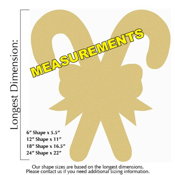 Christmas Candy Canes Unfinished Cutout MEASUREMENTS