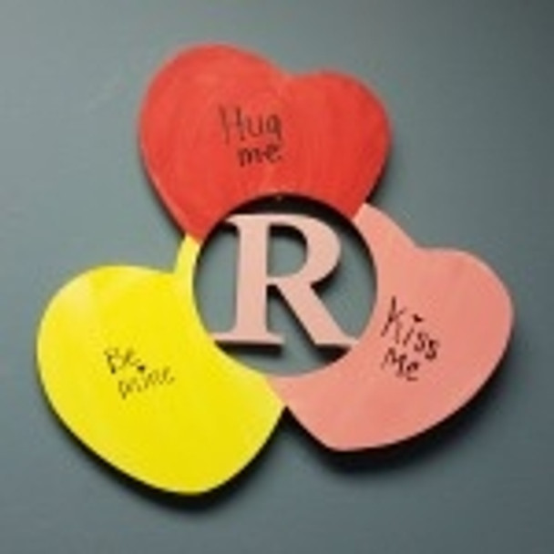 Candy Hearts Frame Letter Insert Wooden Monogram Unfinished Craft