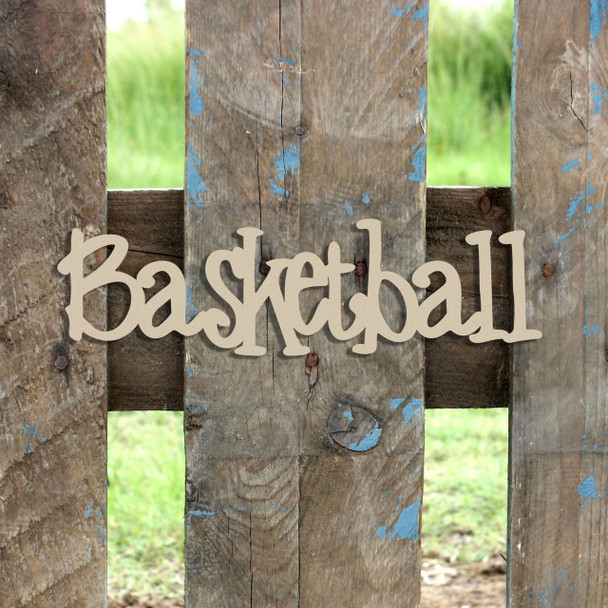 Basketball  Word Unfinished Cutout, Wooden Shape, MDF