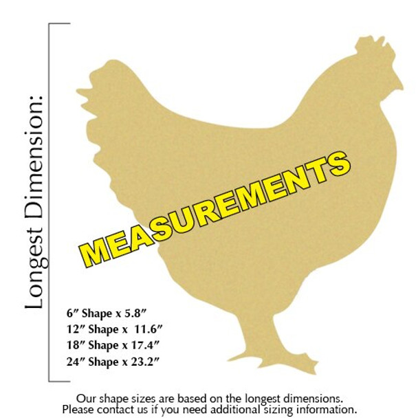 Chicken Unfinished Cutout Paintable MDF DIY Craft measurements