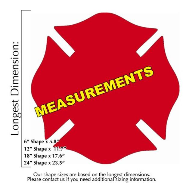 Chicago Fireman Cross Unfinished Cutout measurements