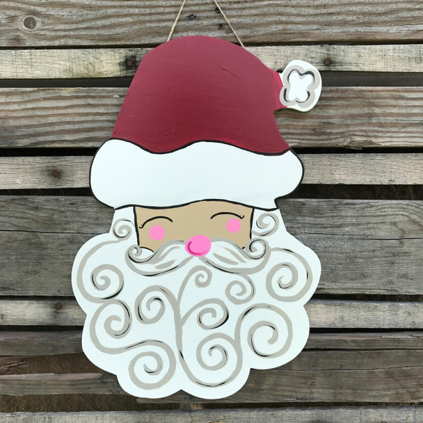 Christmas Santa head Unfinished Cutout, Wooden Shape, Paintable Craft