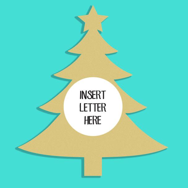 Christmas Tree Frame Letter Insert Wooden Monogram Unfinished Craft