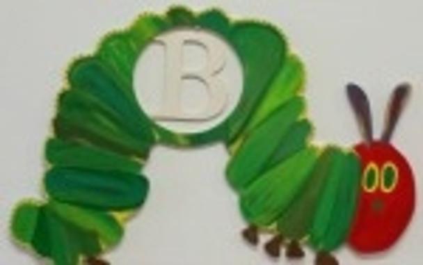 Caterpillar Frame Letter Insert Wooden Monogram Unfinished DIY Craft