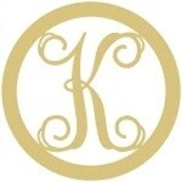 Circle Framed Monogram Letter-K