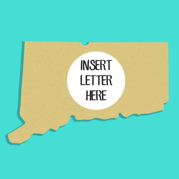 Connecticut Frame Letter Insert Wooden Monogram Unfinished DIY Craft
