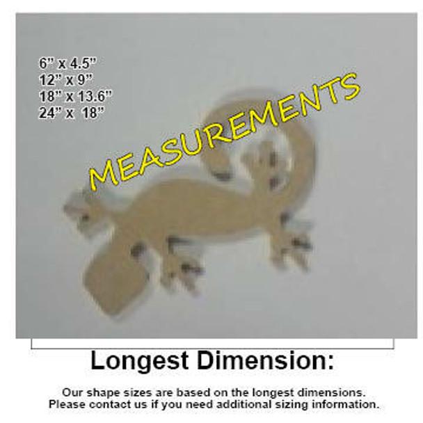 Critter Gecko Unfinished Cutout MDF DIY Craft measurements