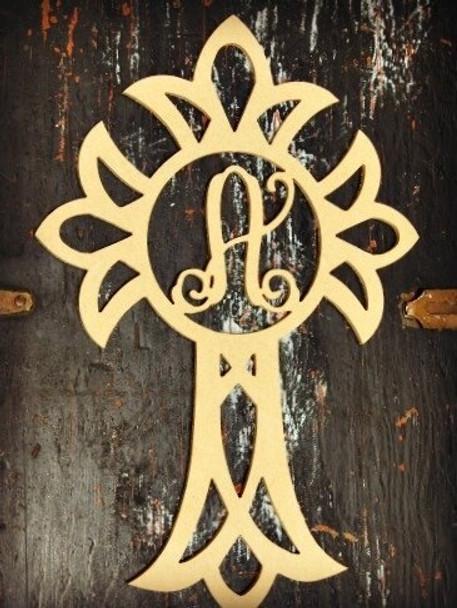 Cross Monogram Letter Unfinished DIY Craft-A