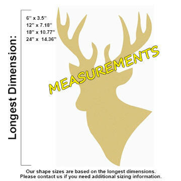 Deer Unfinished Cutout Paintable Wooden MDF Craft measurements