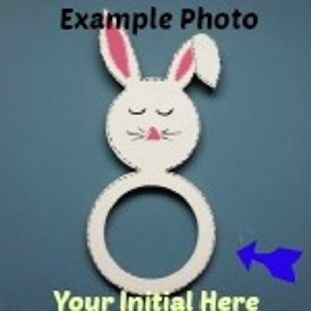 Bunny Frame Letter Insert Wooden Monogram Unfinished DIY Craft