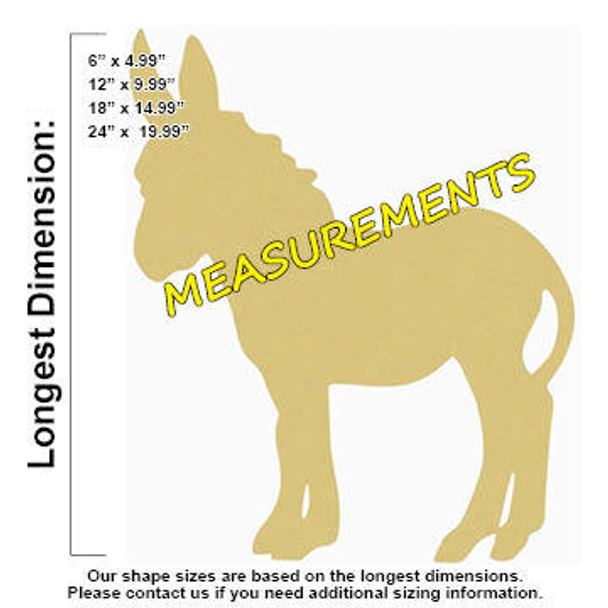 Donkey Unfinished Cutout Paintable Wooden MDF measurements
