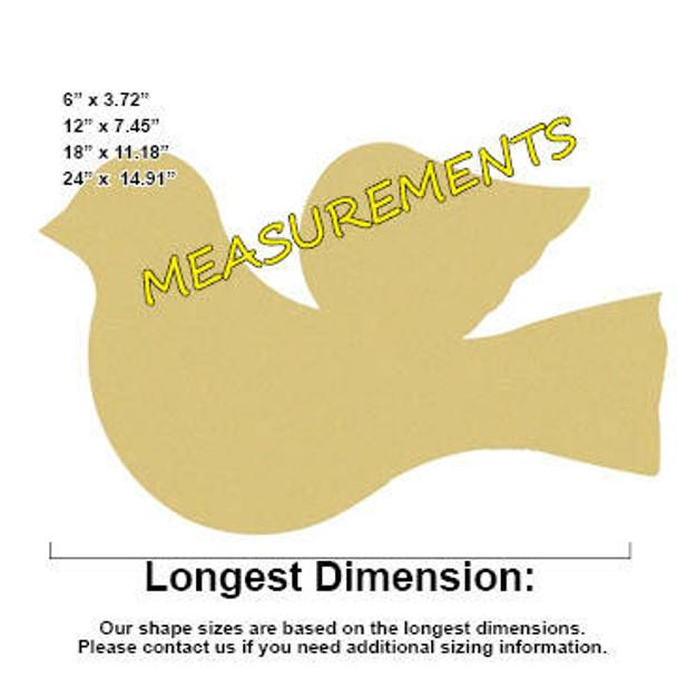 Dove Cut Out Unfinished Wooden Shape measurements