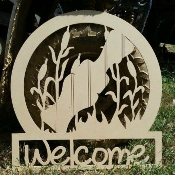 Duck Call Sportsman Welcome Sign Beadboard Unfinished DIY Craft
