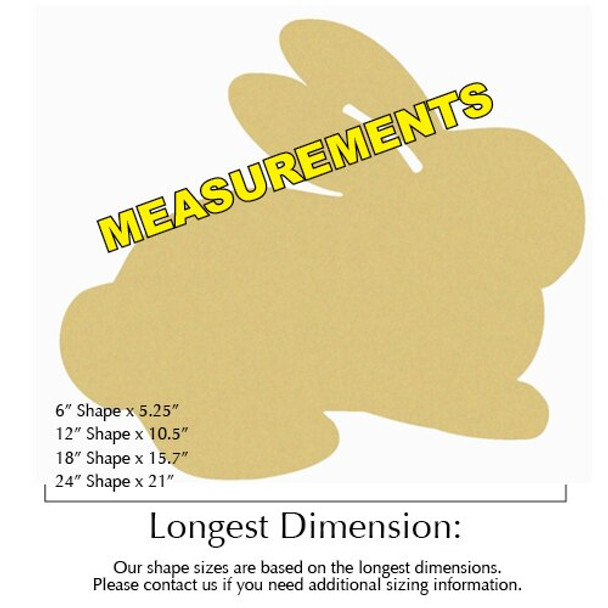Bunny Unfinished Cutout MEASUREMENTS