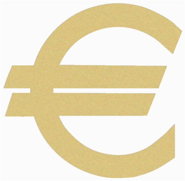 Euro Dollar Unfinished Cutout, Wooden Shape, Paintable MDF DIY Craft