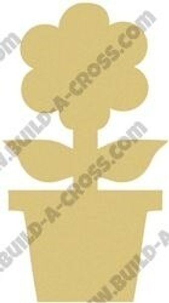 Flower in Pot Unfinished Cutout build-a-cross