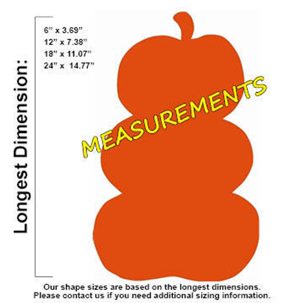 Fall Stacked Pumpkin Unfinished Wooden Shape measurements