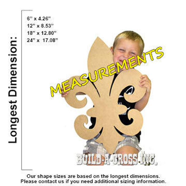 Fleur de Lis Unfinished Cutout measurements