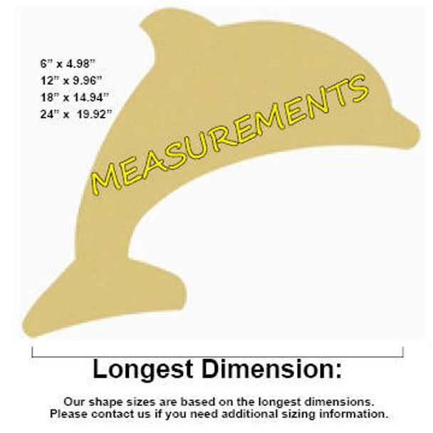 Dolphin Unfinished Cutout Paintable MDF DIY Craft MEASUREMENTS