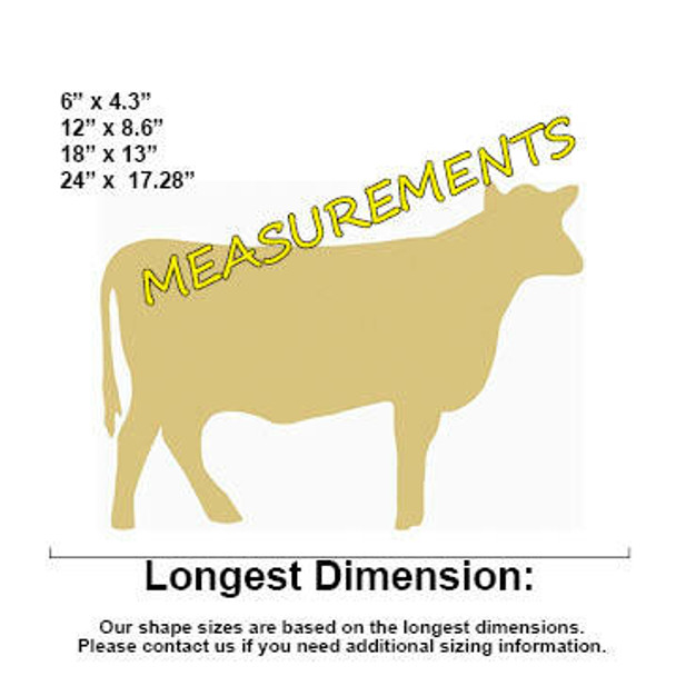 Cow Unfinished Cutout Paintable Wooden MDF DIY Craft measurements