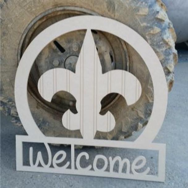 Fleur De Lis Sportsman Welcome Sign Beadboard Unfinished DIY Craft