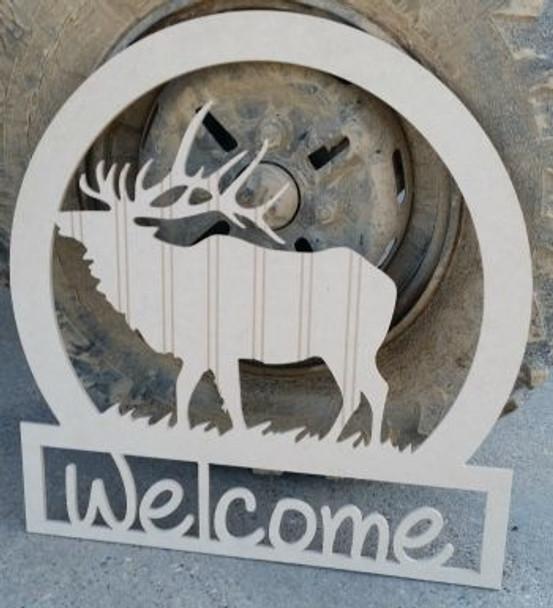 Elk Sportsman Welcome Sign Beadboard Unfinished DIY Craft