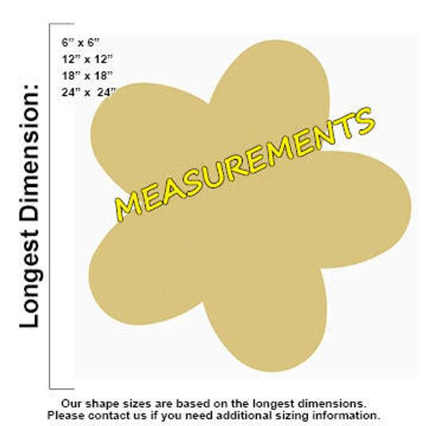 Flower Unfinished Cutout measurements
