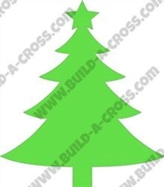 Green Wooden Christmas Tree With Star build-a-cross