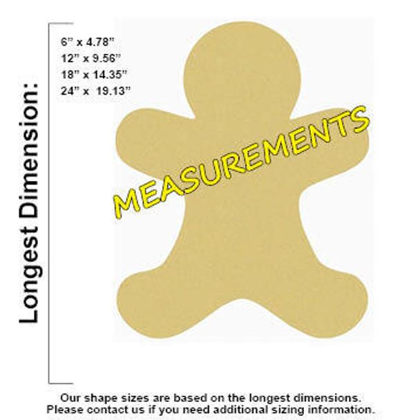 Gingerbread Man Unfinished Wooden Shape measurements