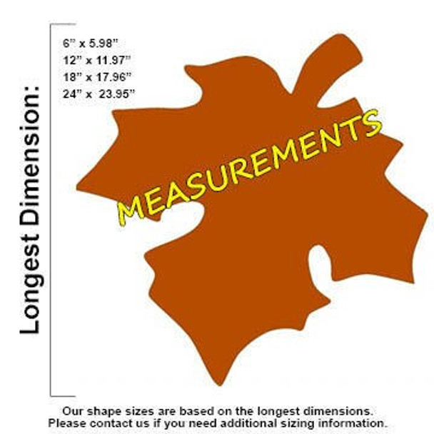 Fall Leaf Unfinished Cutout Wooden Shape measurements
