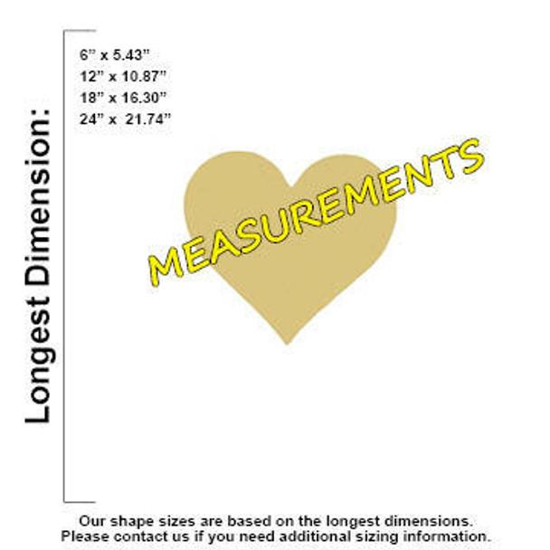 Heart Cutout Paintable Wooden MDF measurements