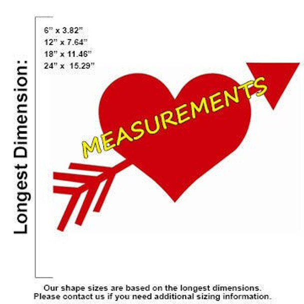 Heart Arrow Unfinished Cutout measurements