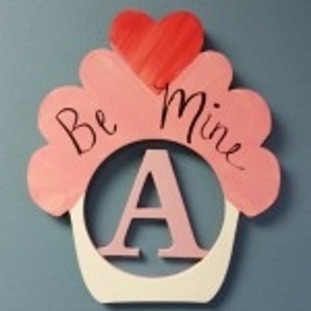 Heart Cupcake Frame Letter Insert Wooden Monogram Unfinished Craft