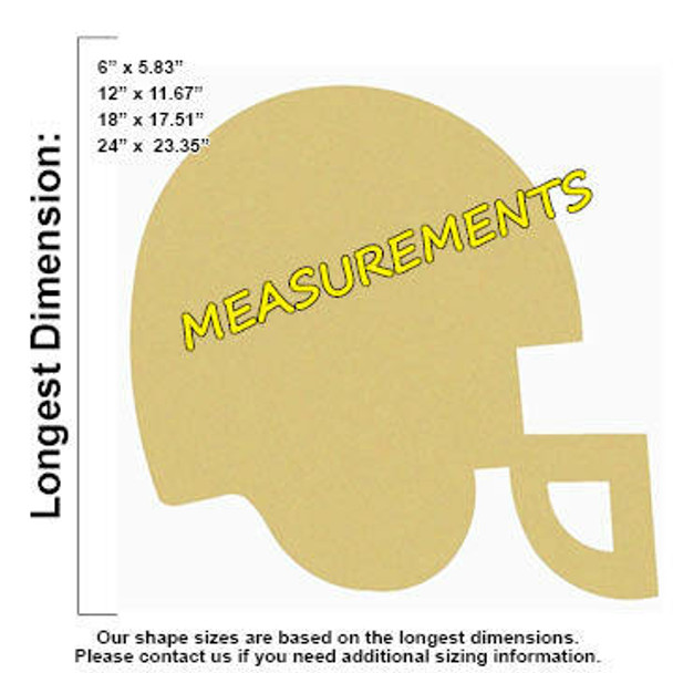 Football Helmet Unfinished Cutout Paintable Wooden MDF MEASUREMENTS
