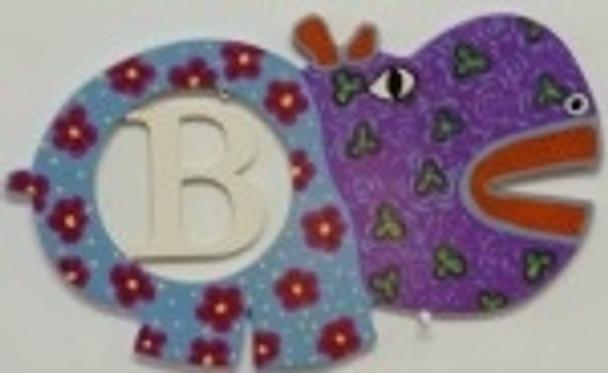 Hippo Frame Letter Insert Wooden Monogram Unfinished DIY Craft