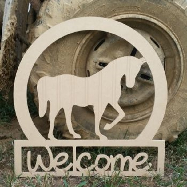 Horse Sportsman Welcome Sign Beadboard Unfinished DIY Craft
